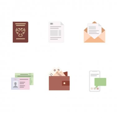 Vector icons email, finances and documents icon