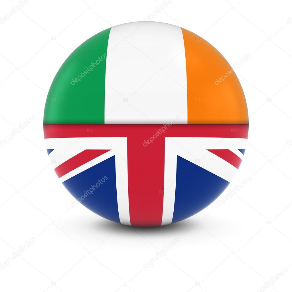 irish and british flag ball split flags of ireland and the uk