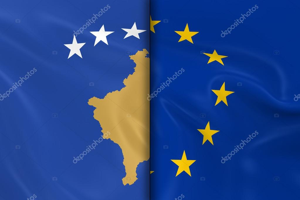 Flags Of Kosovo And The European Union Split Down The Middle 3d