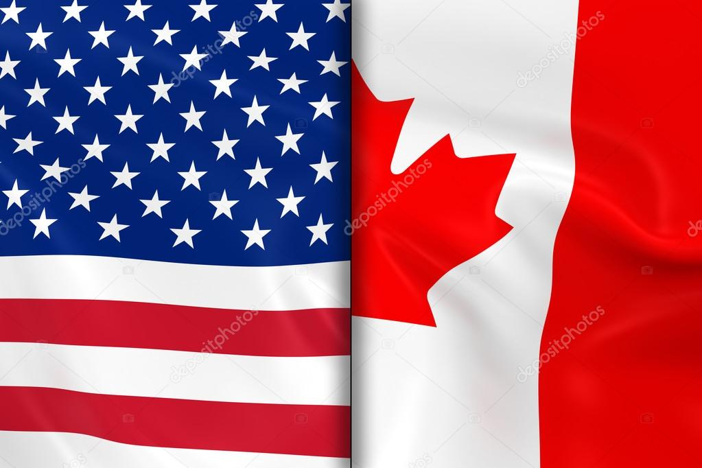 99f292ed0ce Flags of the USA and Canada Split Down the Middle - 3D Render of the American  Flag and Canadian Flag with Silky Texture — Photo by ...