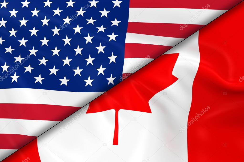 ad0126343ce Flags of the USA and Canada Divided Diagonally - 3D Render of the American  Flag and
