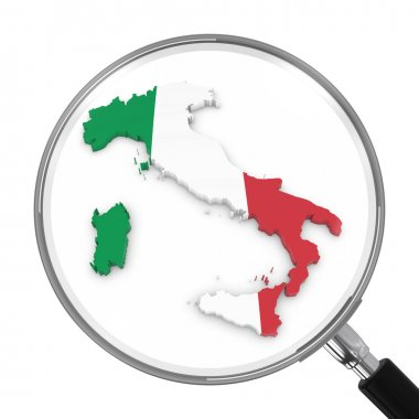 Italy under Magnifying Glass - Italian Flag Map Outline - 3D Illustration