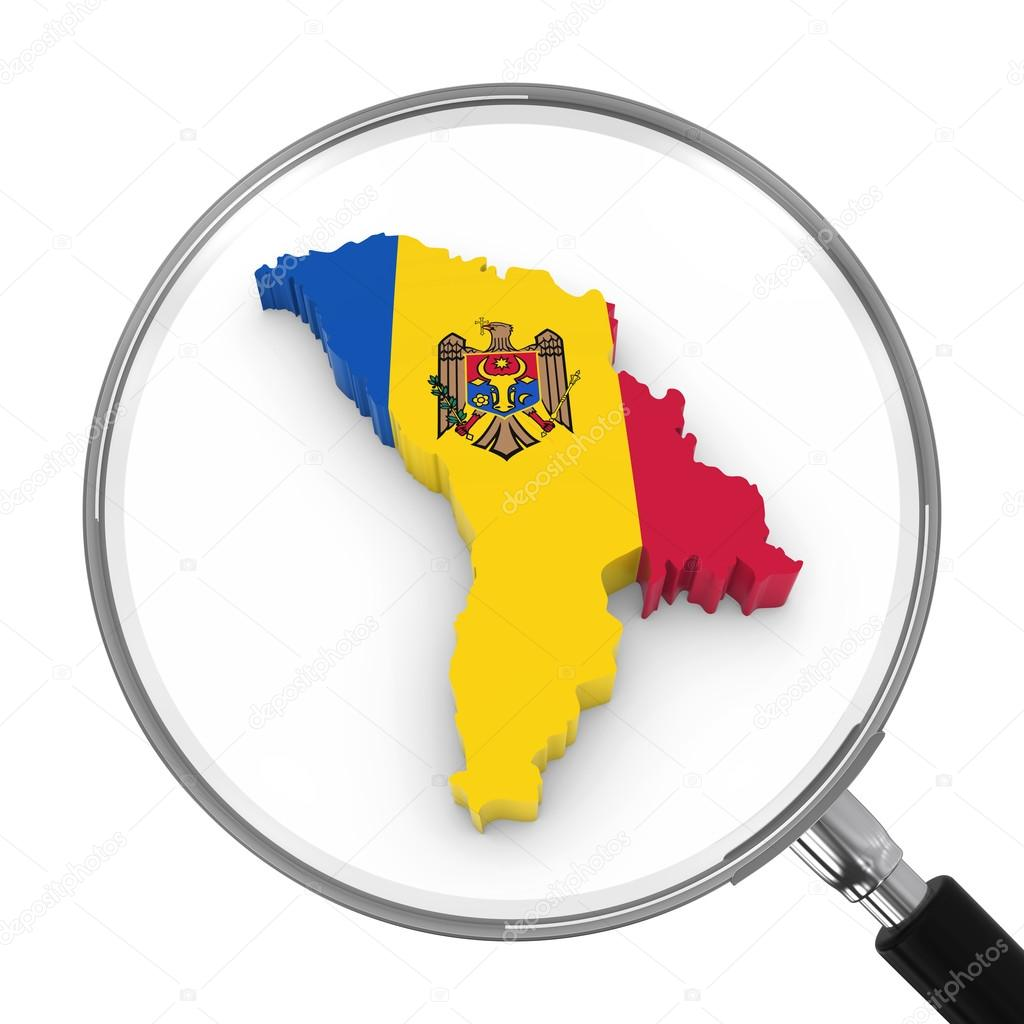 Moldova Under Magnifying Glass Moldovan Flag Map Outline D - Moldova map outline