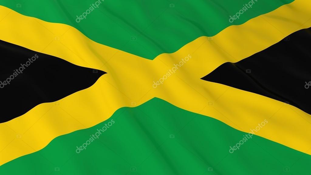Jamaika Bayrağını Hd Arka Plan Jamaika Bayrak 3d çizim Stok Foto