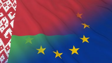 Belarusian and European Union Relations Concept - Merged Flags of Belarus and the EU 3D Illustration