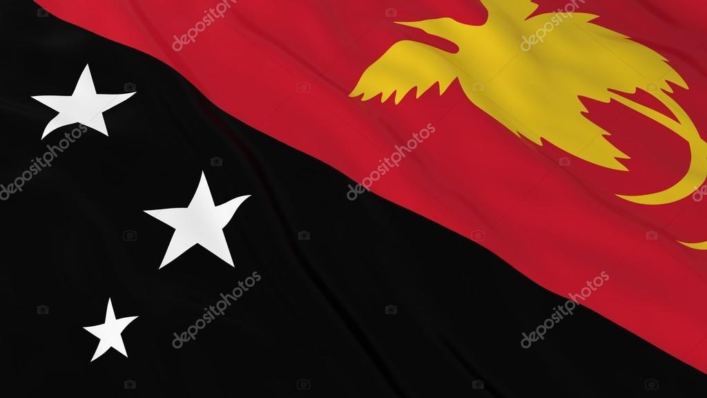 Papua Bayrak Hd Arka Plan Papua Yeni Gine Bayrağı 3d çizim Stok