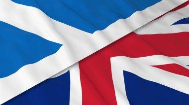 Flags of Scotland and the United Kingdom - Split Scottish Flag and British Flag 3D Illustration