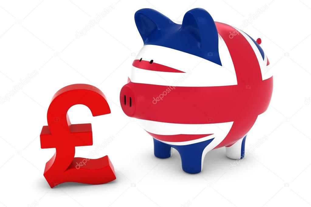 Uk Flag Piggy Bank With Pound Symbol 3d Illustration Stock Photo
