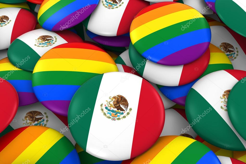 Mexico Gay Rights Concept - Mexican Flag and Gay Pride Badges 3D  Illustration — Stock Photo