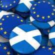 Scotland and Europe Badges Background - Pile of Scottish and European Flag Buttons 3D Illustration Стоковая Картинка