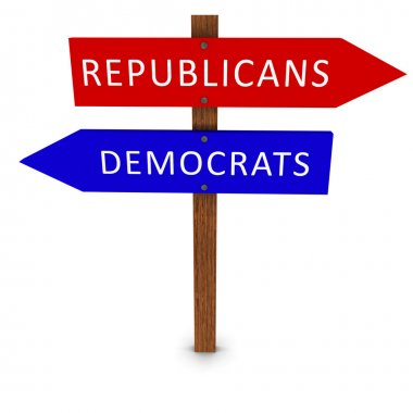US Elections Political Parties Arrow Signs