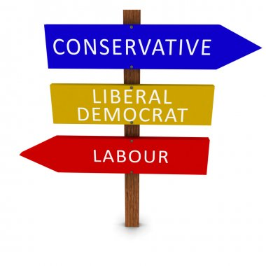 UK Elections Political Parties Arrow Signs