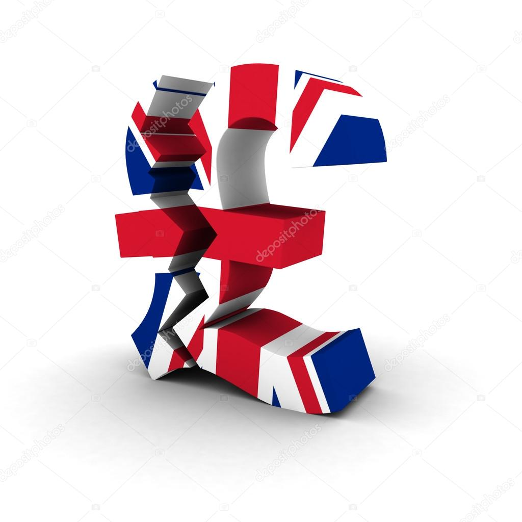 Financial Insecurity Concept Cracked Uk Flag Pound Symbol Stock