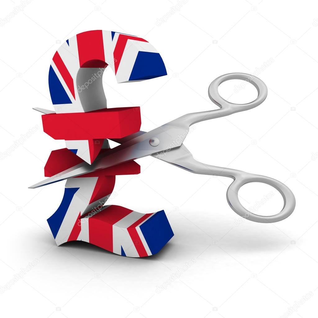 Price cut concept uk flag pound symbol with scissors stock 3d render of a pound symbol textured with the uk flag being cut with scissors isolated on white concept image for price cuts and reductions buycottarizona