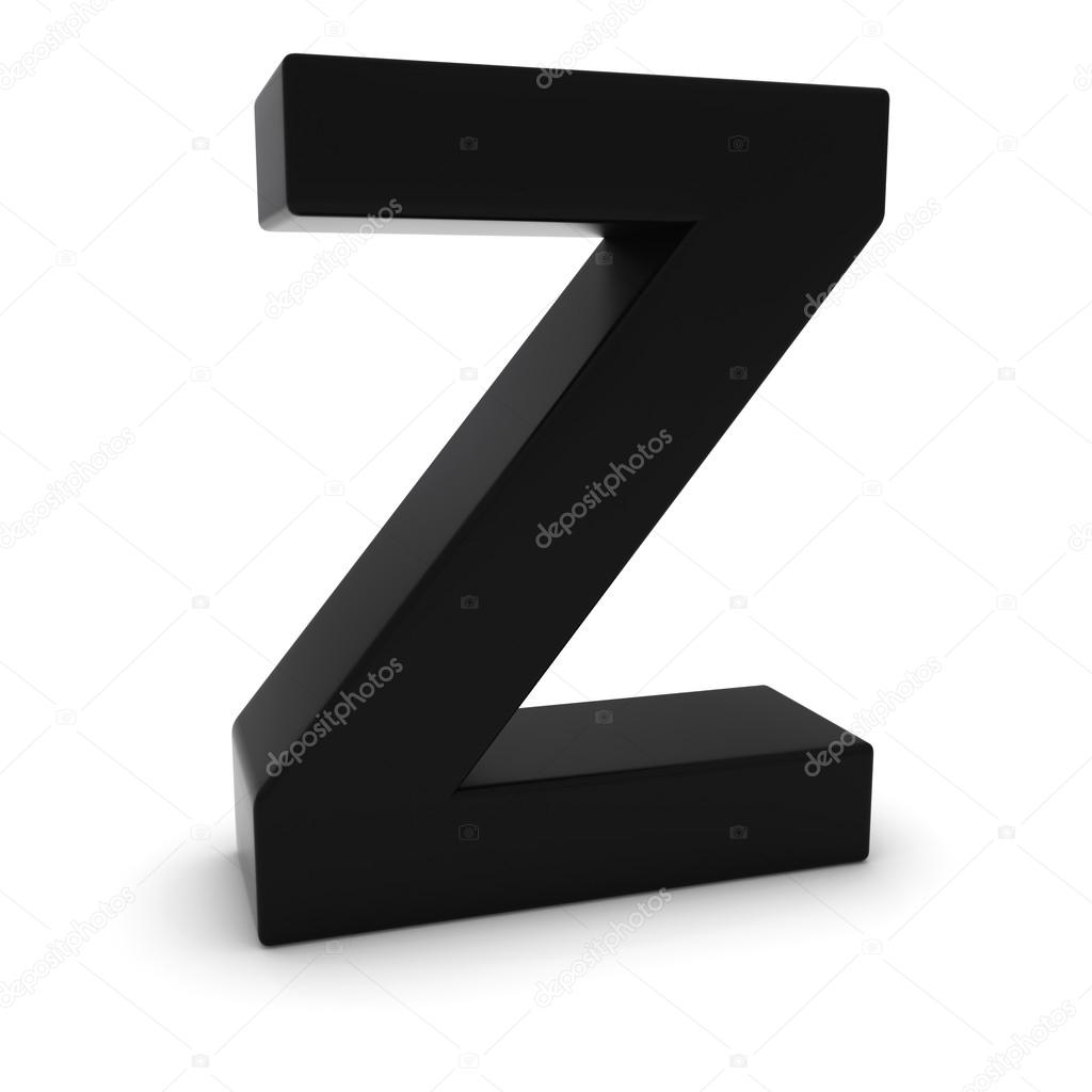 Black 3d Uppercase Letter Z Isolated On White With Shadows Stock