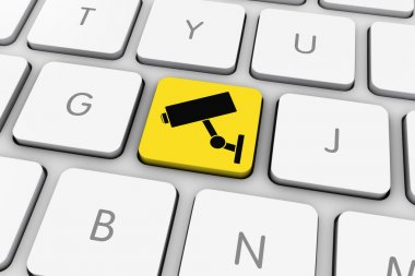 Yellow and Black CCTV Camera Icon Computer Key on White Keyboard