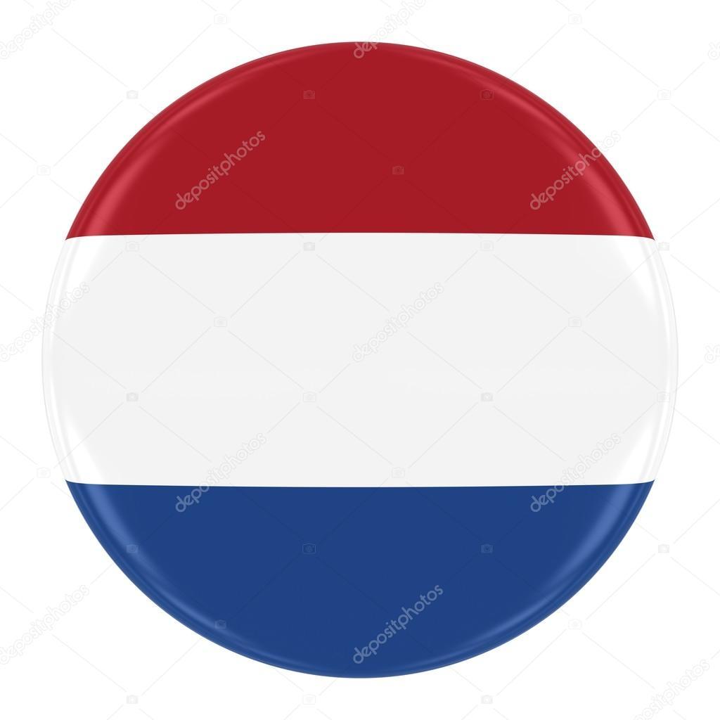 Badge Bandiera Olandese Bandiera Del Pulsante Olanda Isolato Su