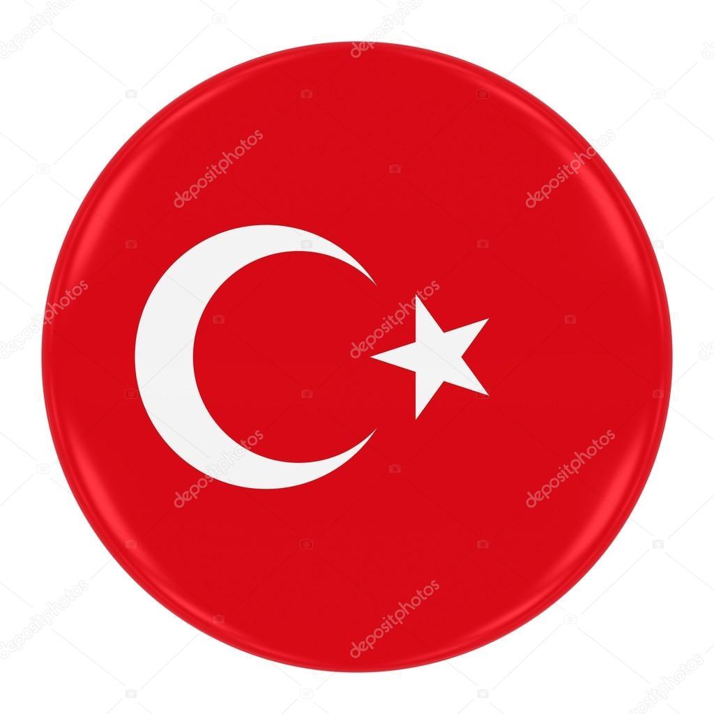 turkish flag badge flag of turkey button isolated on white stock