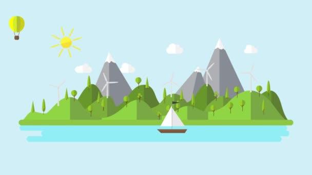 paesaggio piatto verde ecologia con impianto eolico e barca a vela 4K animazione cartoon