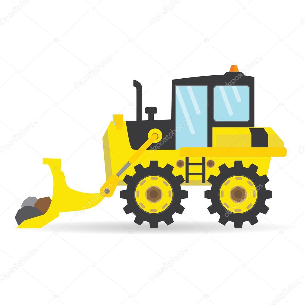 Dessin animé plat bulldozer vecteur industrie transport ...