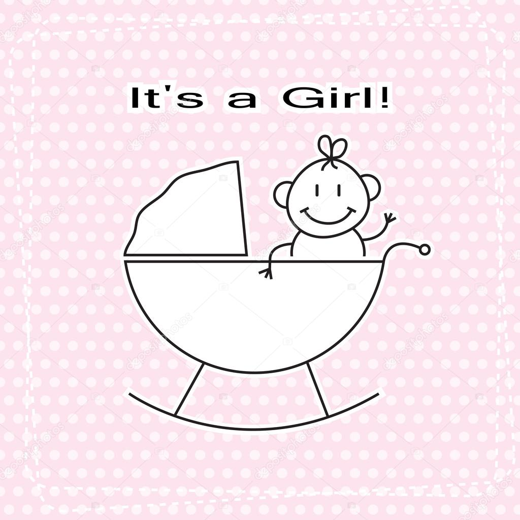 Hand Draw Cute Girl In Child Pram Vector Baby Shower Announcement