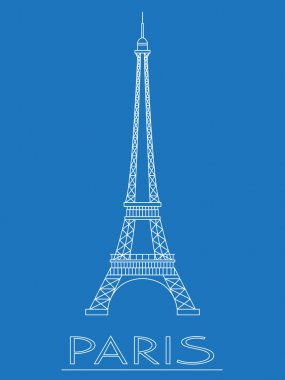 World landmarks. Paris. France. Eiffel tower. Graphic template. Logos and badges. Linear design. Vector illustration