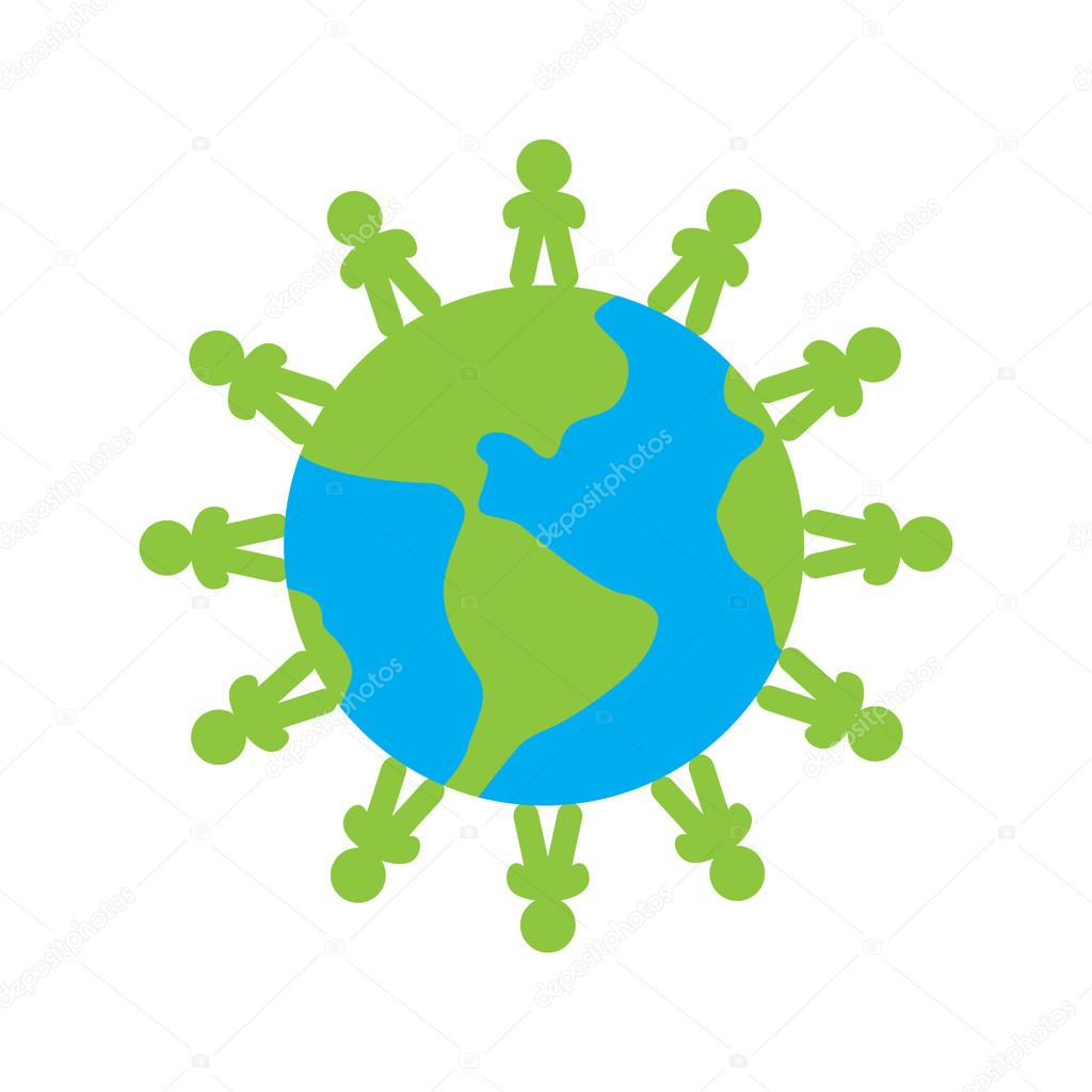 The peoples around the Earth . globe Vector logo eco icon illustration