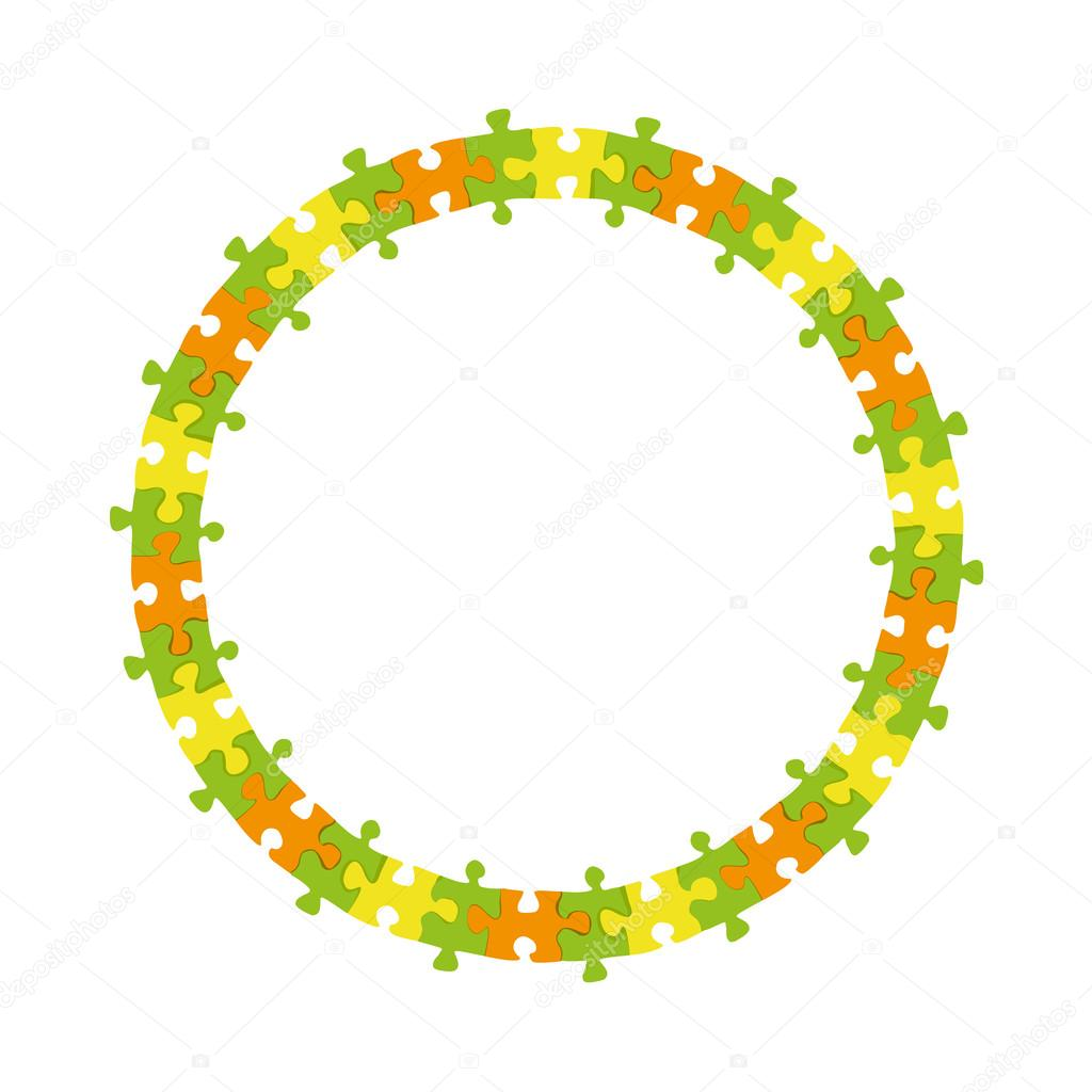 abstract colorful jigsaw puzzle circle frame vector background ...