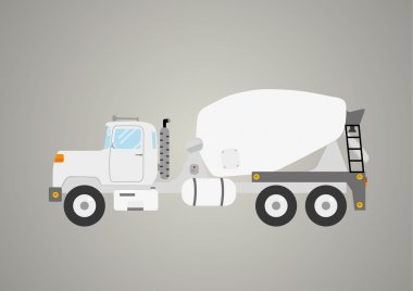 concrete mix truck flat industry car heavy vehicle isolated vector illustration