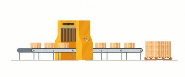 Vector illustration of parcel packing. Preparing to send to the post office, review. Boxes, sealing, purchase. icon