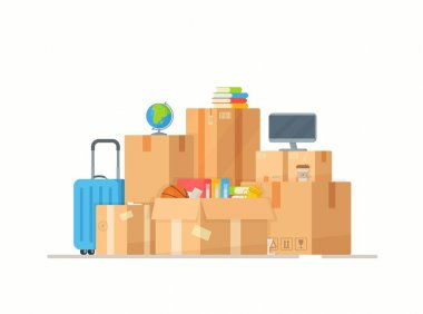 Vector cardboard packing boxes. Drawing of moving home. Delivery box with various household items. Moving family to a new home. Clothes, books, plants, guitar, ball. icon