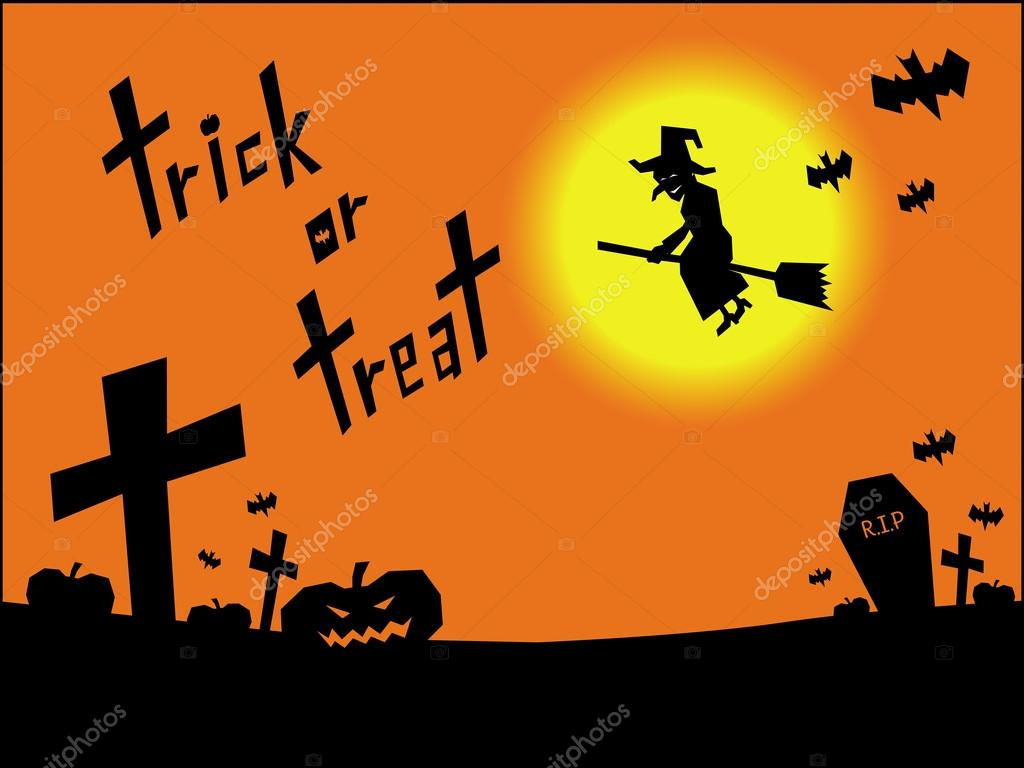 personagem de desenho de bruxa voando no cemitério stock photo