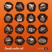 Fotografie Vektor-Sammlung von Party-Gebäck, Kuchen und Süßigkeiten-Symbole
