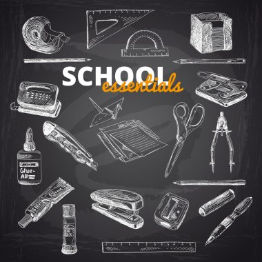 Vector set of school items.