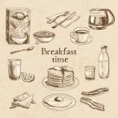 Fotografie Vector breakfast hand drawn set.