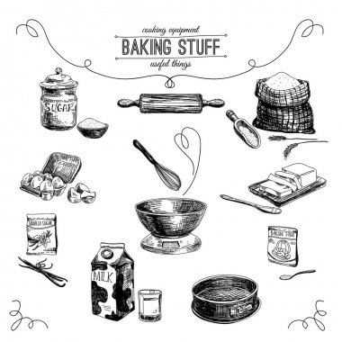 Vector hand drawn set. Vintage Illustration with baking stuff.