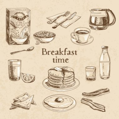 Vector breakfast hand drawn set.