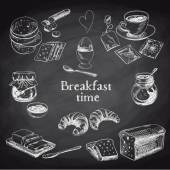 Fotografie Vector breakfast hand drawn set. Vintage illustration.