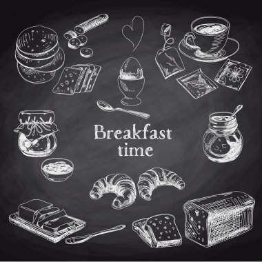 Vector breakfast hand drawn set. Vintage illustration. Chalkboard stock vector