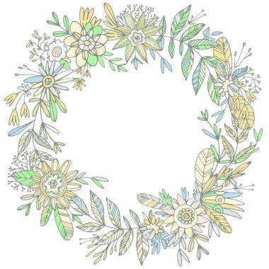 gorgeous wreath woven from petals and flowers.