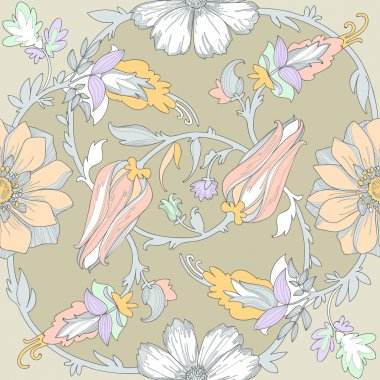 Beautiful elegant floral pattern  in pastel colors