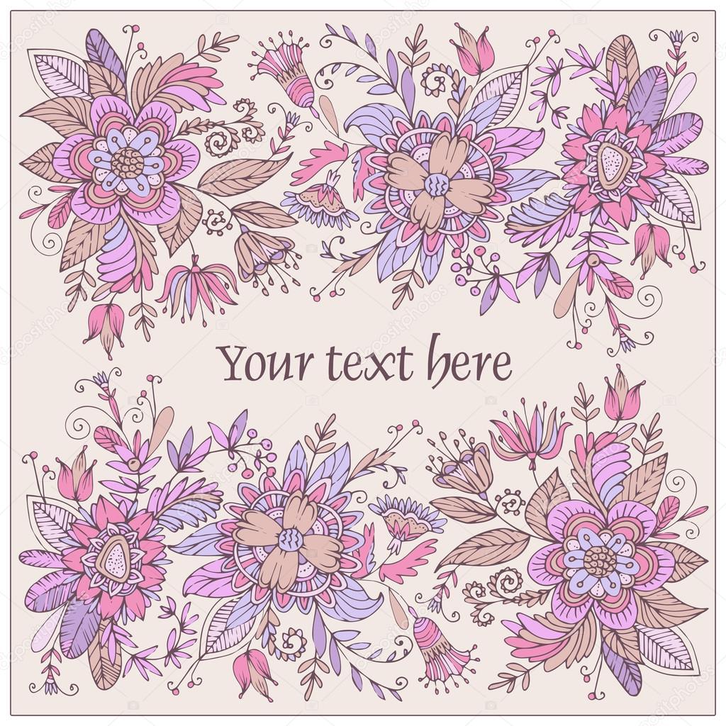 Farbige Postkarte mit Blumen — Stockvektor © dozy_dreamer #66390349