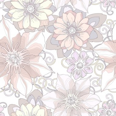 Seamless pattern of botanical flowers and petals.