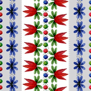 Seamless pattern with watercolor flowers and leaves. The leaves are arranged vertically in rows on a dark stripe. Can be used for curtains, wallpaper, pattern fills, web page background, surface stock vector