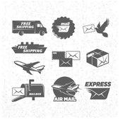 Ikony služeb Vintage post sada, vektorové ilustrace.