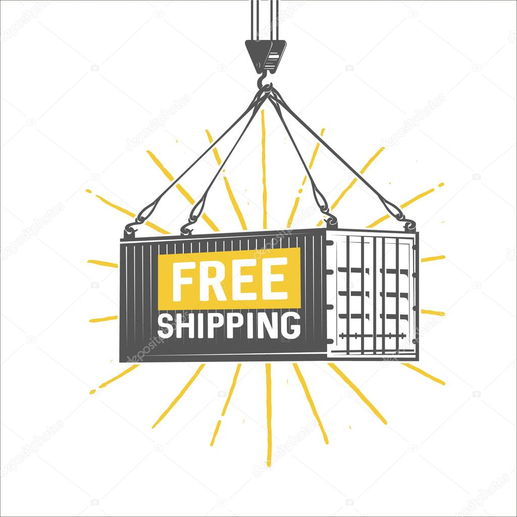 Free shipping design template. Crane lifts a container with carg ...