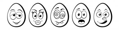 Funny Easter Eggs set with emoticon cartoon character faces, flat vector design icon