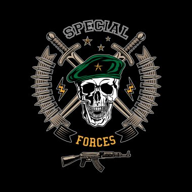 Special forces colored vector emblem with skull, daggers and gun. stock vector