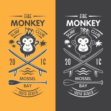 Monkey surfing club emblem