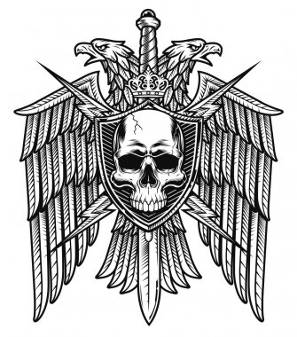 Eagle crest skull shield coat of arms